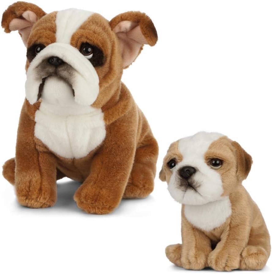 White Plush Stuffed Animal DEMDACO Sitting Small French Bulldog Light Brown