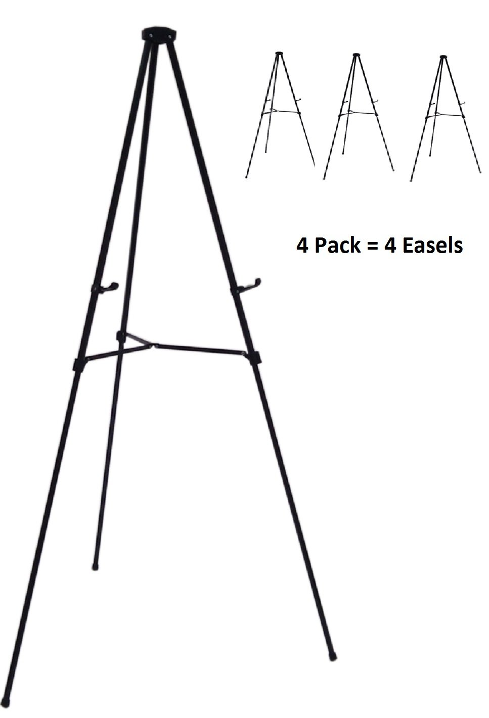 Pack of 4 Lightweight Aluminum Telescoping Display Easel, Black (4 pack) by Audio-Visual Direct (Image #1)