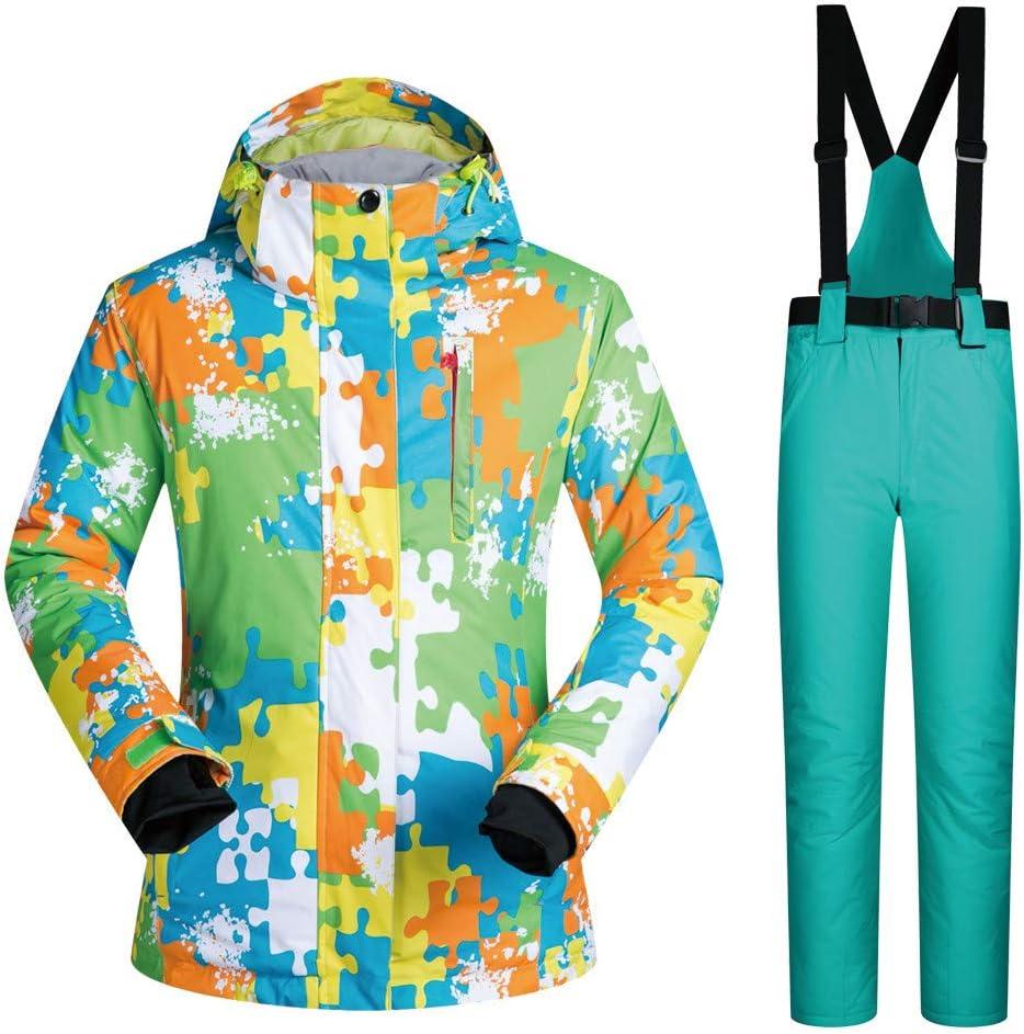 スキーボードウェア スキーサスペンダー 2点セット 上下セット スノーウェア ジャケット パンツ アウトドア メンズ 男性 カップル 厚手 防水 防寒 保温 大きいサイズ MT180tz5 グリーン Medium