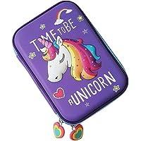 VIHAAN Unicorn Hard Top EVA Embossed Pencil Pouch (Purple)
