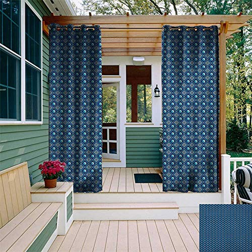 (leinuoyi Yin Yang, Outdoor Curtain of Lights, Traditional Asian Spiritual Pattern with Geometric Squares Spirals, Set for Patio Waterproof W84 x L96 Inch Navy Blue Pale Green Blue)