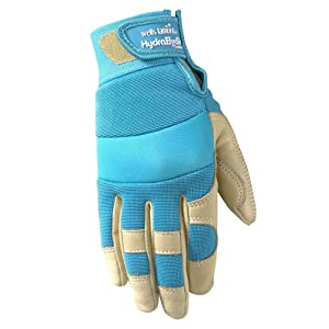 Women's Water Resistant Garden and Work Gloves, Hydrahyde Leather, Velcro Wrist, Small (Wells Lamont 3204S)