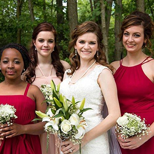 A Linie Neckholder Rückenfrei Hochzeit Abendkleider Ballkleider Abschlussball Lang Falten Kleider Champagner Brautjungfernkleider Chiffon IZtwxZq