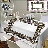 Unique Custom Cotton Linen Tablecloths an Ornate Antique Picture Frame On A White Background Tablecovers Rectangle Tables, 70'' Wx 52'' L, 180x130cm