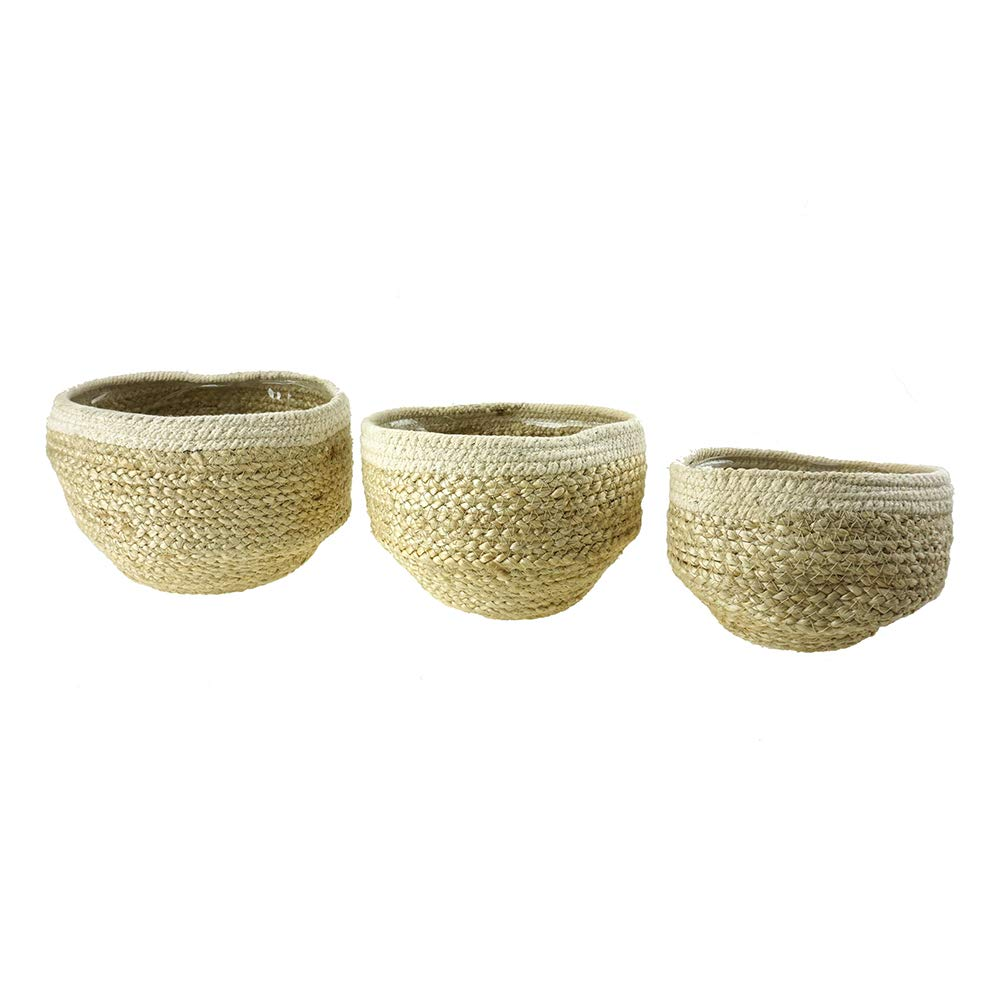 Homeford Handmade Round Jute Rope Basket with Plastic Liner, Ivory, 3-Piece by Homeford Direct