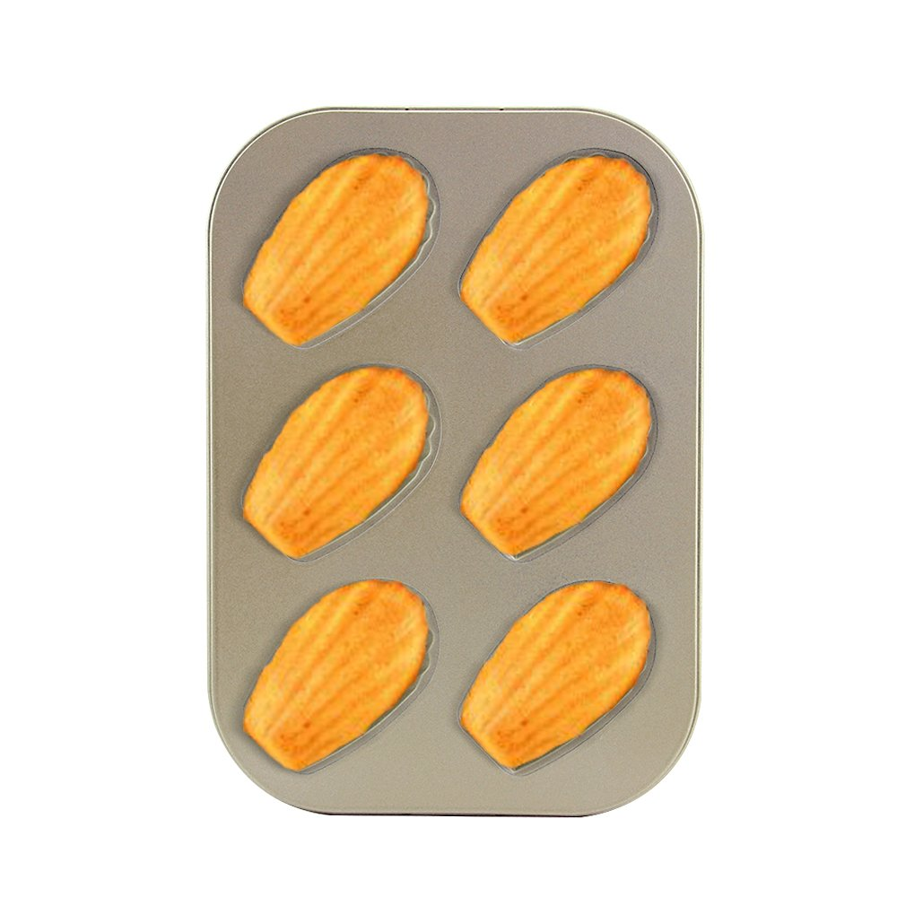 10.43 × 7.28 × 0.66 inch Madeleine Pan 6 Cups Shell Shaped Baking Pan kitchen Bakeware Set Madeleine Cookie Pan Baking Trays for Oven Non Stick 2 Pack (Shell Madeleine Pans) by Easy Style (Image #2)