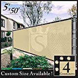 Cheap Royal Shade 5′ x 50′ Beige Fence Privacy Screen Windscreen Cover Netting Mesh Fabric Cloth – Get Your Privacy Today, Stop Neighbor Seeing-Through Stop Dogs Barking Protect Property WE MAKE CUSTOM SIZE