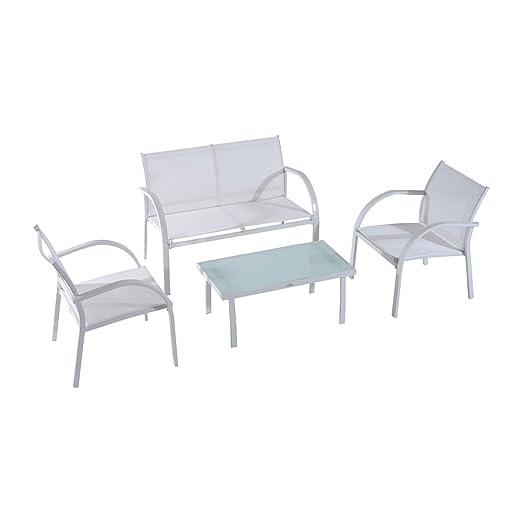 Outsunny – Juego de muebles de jardín de 4 piezas: mesa, 2 ...