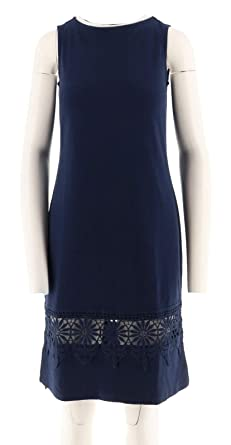 0604a6306 Liz Claiborne NY Midi Length Dress Lace Trim Crew Neckline Navy PXXS New  A263448