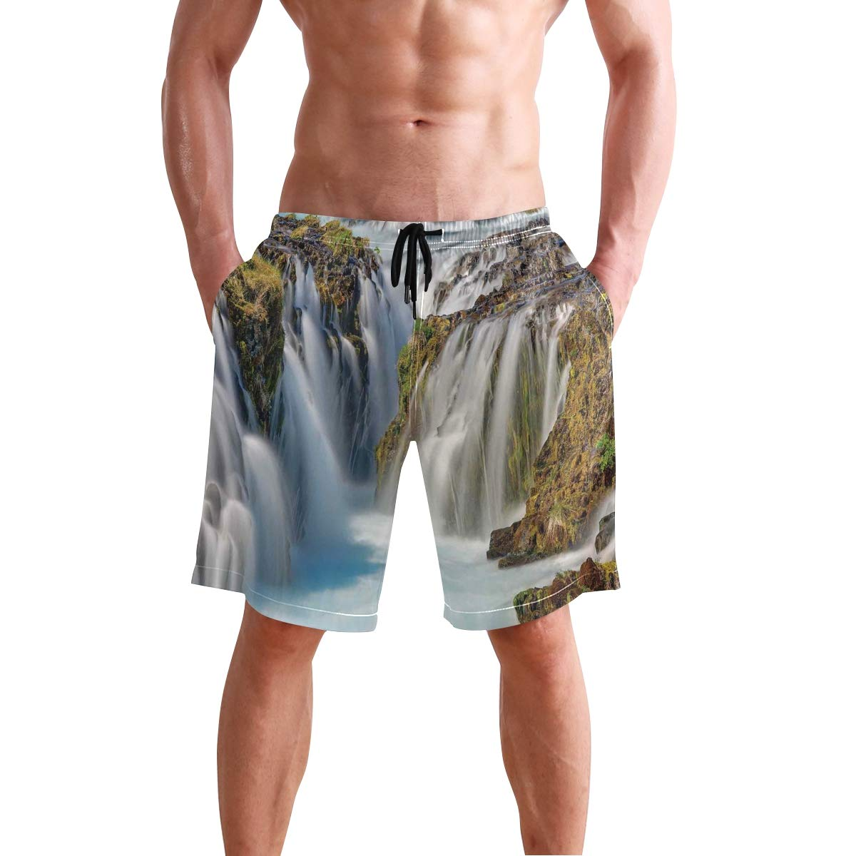 KVMV Bronze Geometric Triangles Pattern in Different Sides Quick Dry Beach Shorts