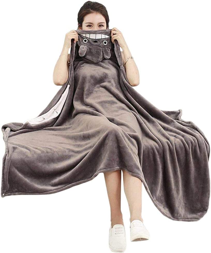 My Sky Anime Throw Blanket Flannel Fleece Blanket Cosplay Cloak Shawl Wrap Daily Nap Quilt (Totoro, 63x43 inch)