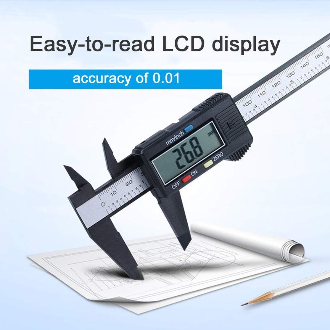 Color:black Calibro digitale LCD in fibra di carbonio Calibro digitale 0-150mm Calibro micrometrico Strumento di misura Righello con conversione da pollici a mm Kaemma