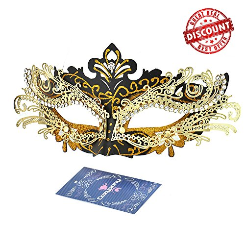 [Masquerade Masks, Cozypony Lacer Cut Luxury Princess Venetian Ball Masks with Rhinestone for Halloween Mardi Gras Party or Wedding(One Size, Black+Gold Line)] (The Vampire Diaries Katherine Halloween Costume)