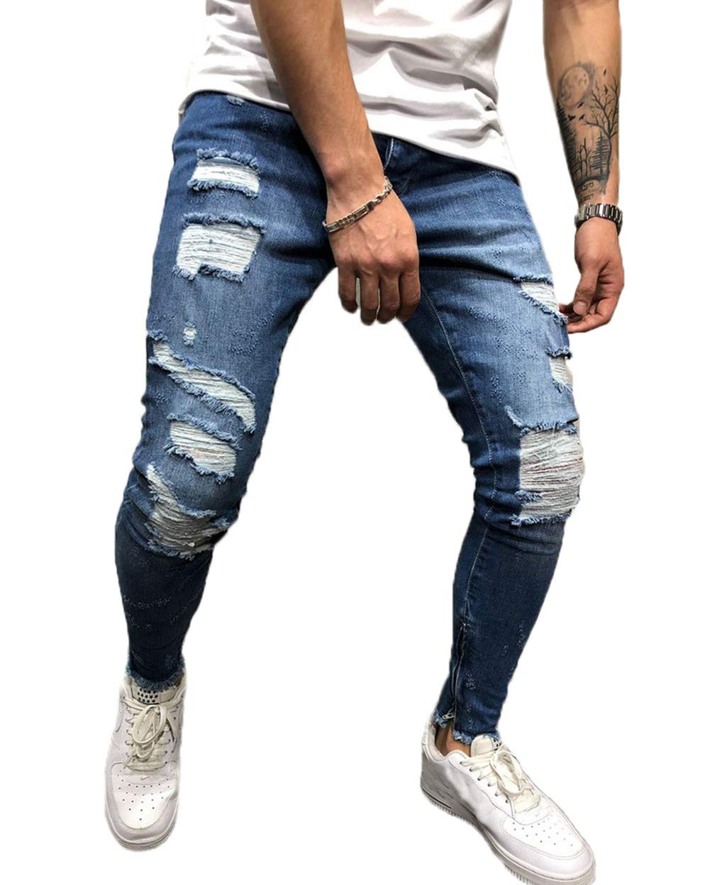 26e314be FUOE Men's Casual Distressed Ripped Destroyed Jeans Slim Fit Skinny Denim  Moto Side Striped Biker Pencil Pants (M, Navy Blue)