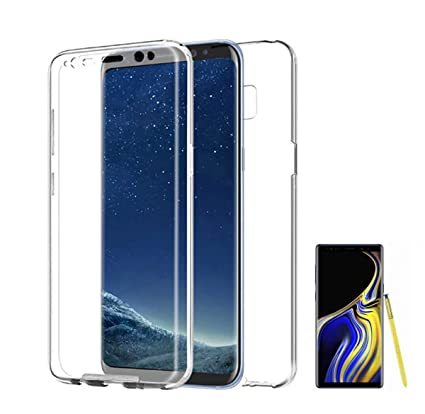 PLANETMOVIL Funda Compatible con Samsung Galaxy Note 9 (6,4 Pulgadas) Carcasa 360 Doble Cara 100% Transparente Completa con Trasera rígida