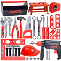 HOMYL 31 Piece Workshop Pretend Play Toolbox Toy Set with Electric Drill for Kids Toddler