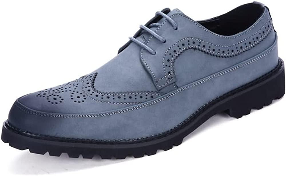 Color : Blue, Size : 9MUS YLY Mens Oxfords Flat Heel Lace Up PU Leather Leisure Tooling Shoes Dress Shoes