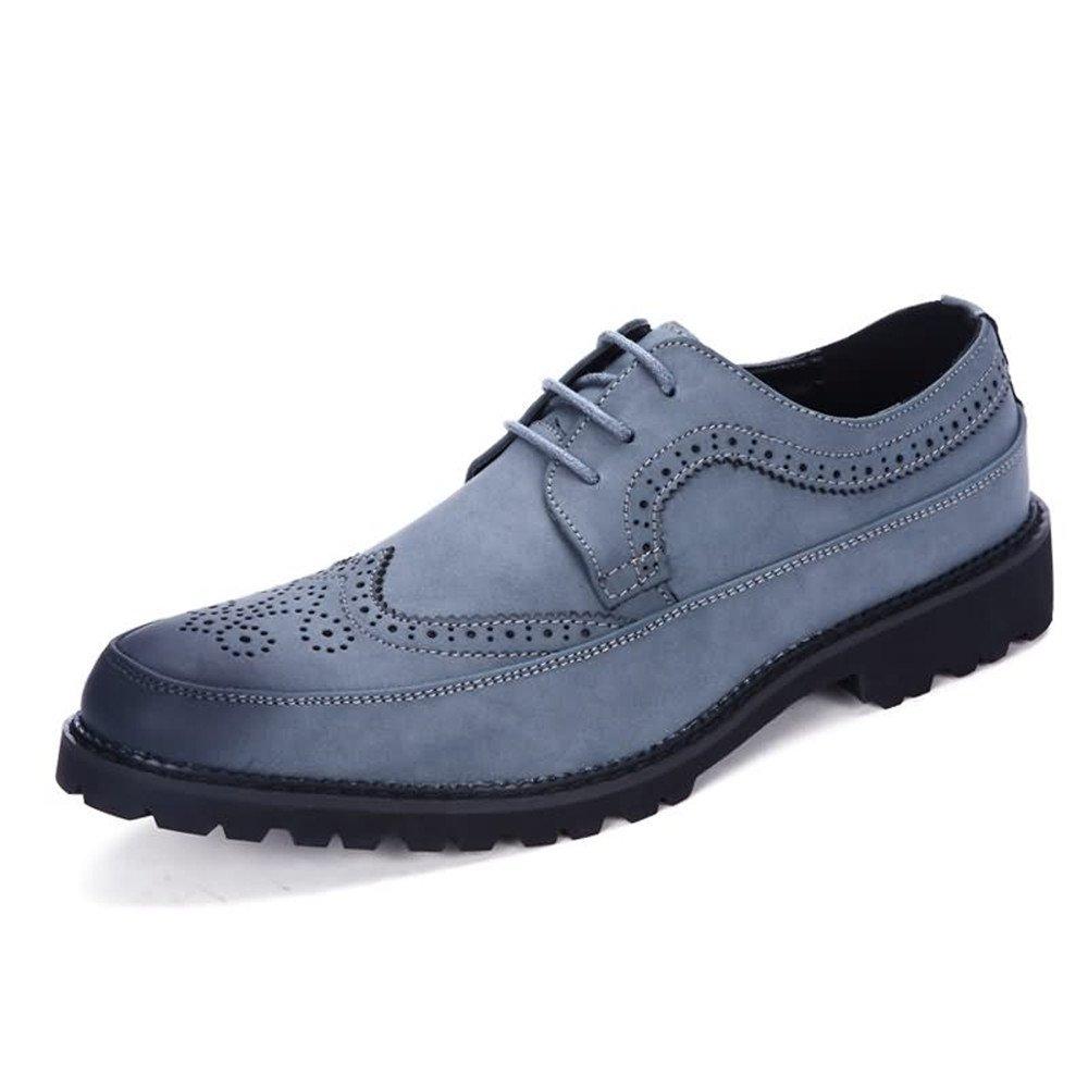 blå Business skor Mans Retro Modern Oxford Flat Heel Heel Heel Lace Up PU läder Verktygsmaskiga skor  första gången svara