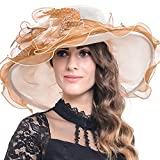 Women Floral Wide Brim Church Derby Kentucky Dress Hat (4 Colors) (S042-Beige with Brown)