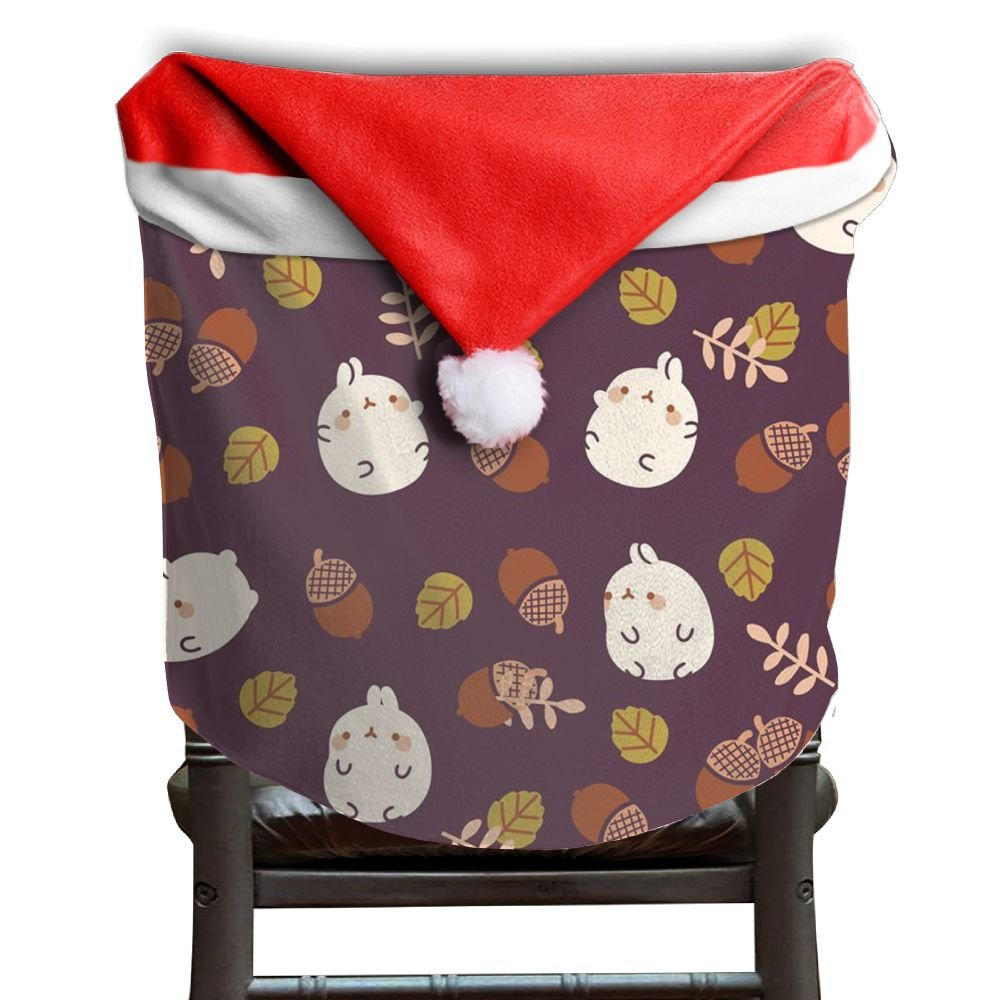 Hedgehog Animals Christmas Chair Covers Sleek Smooth Santa Hat Chair Covers For Husbands Armless Chair Slipcover Holiday Festive