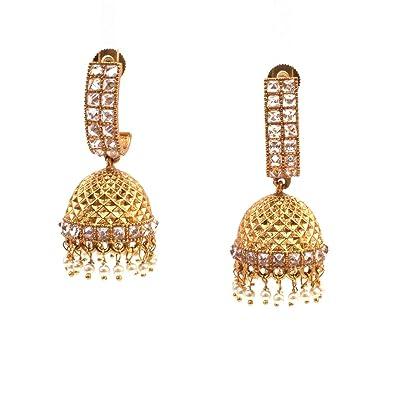 Amazon indian ethnic pakistani gold plated bridal jhumka indian ethnic pakistani gold plated bridal jhumka chandelier earring for woman aloadofball Choice Image