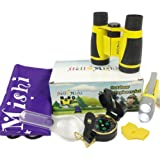 Outdoor toy for kids - 6 pieces outdoor explorer kit includes kids binoculars; Flashlight; Compass; Magnifying glass; Whistle;Carrying bag;adventure set for boys & girls;Best Birthday&Educational Gift