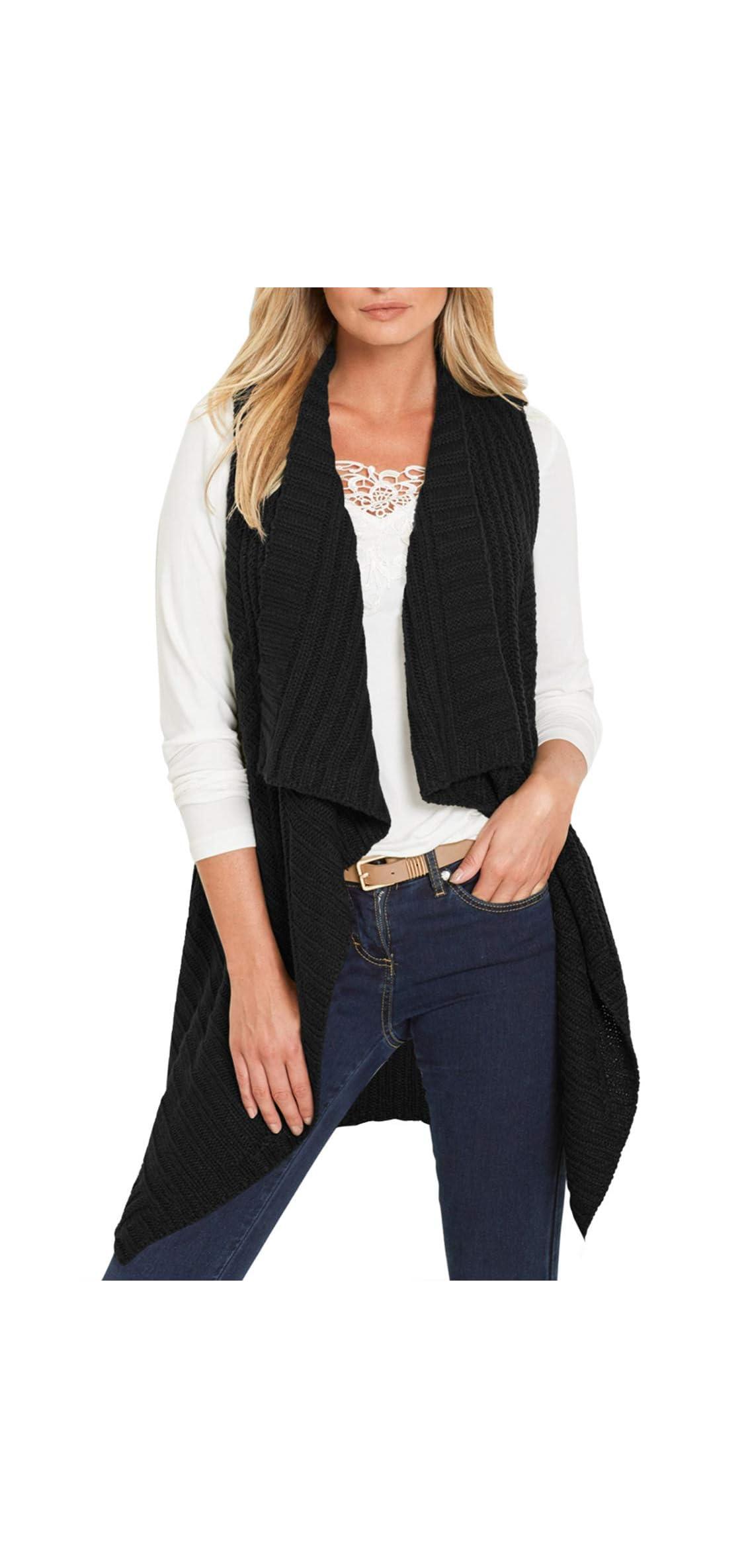 Women's Knit Long Draped Plaid Tunic Sweater Vest