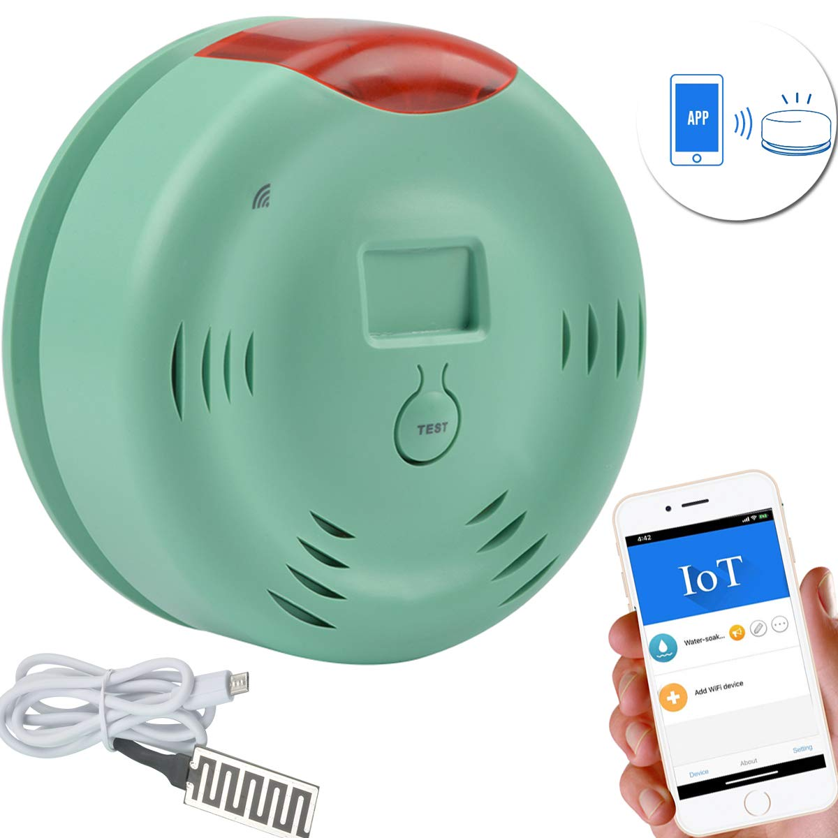 Smart Wi-Fi Water Sensor, Flood and Leak Detector Alarm and ...