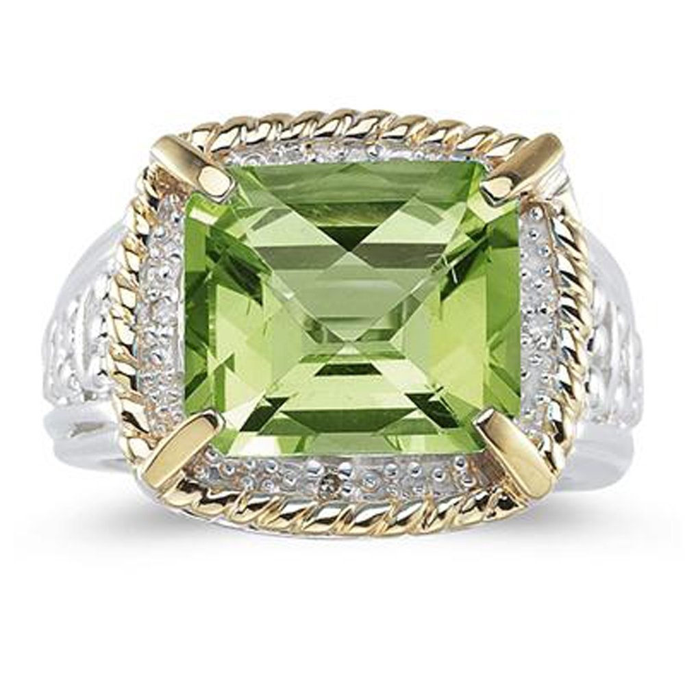 Smjewels 7.60 Ct Emerald Cut Green Peridot And Sim. Diamond Ring In 14K Two-Tone Plated