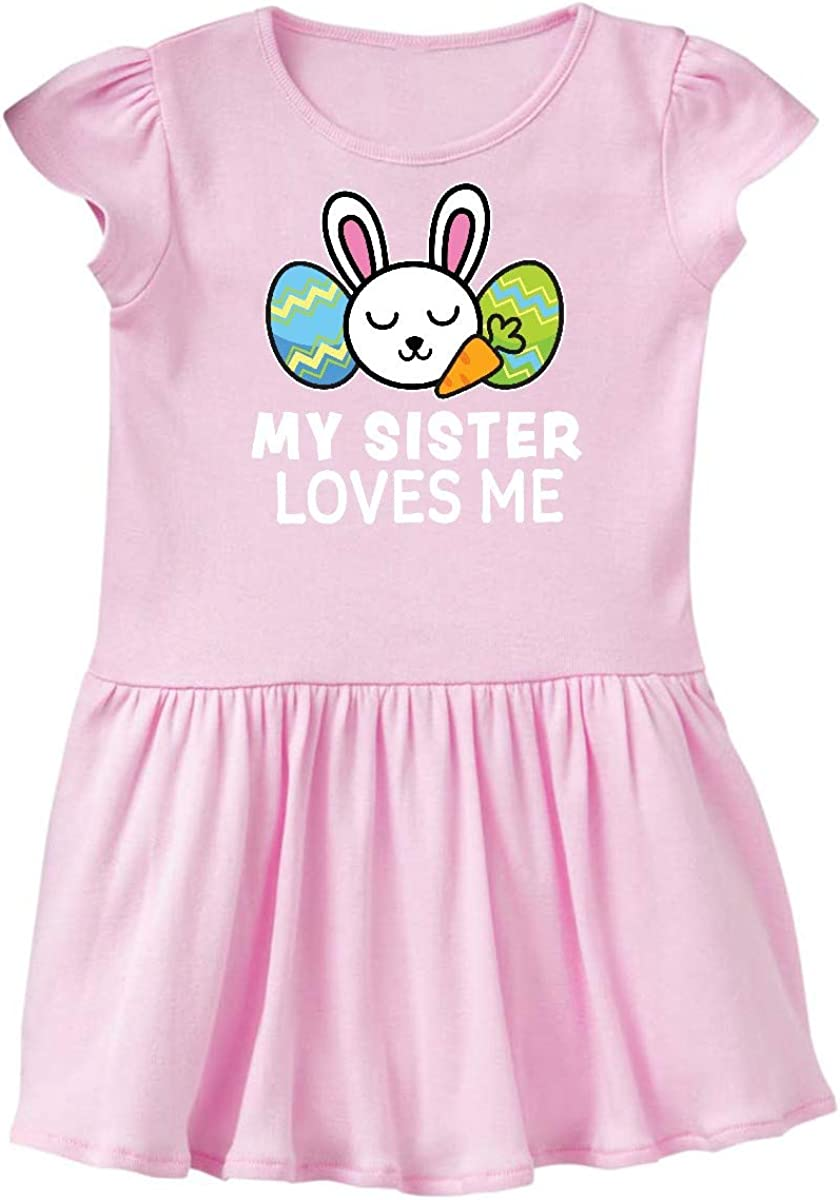 inktastic My Sister Loves Me with Bunny and Easter Eggs Baby T-Shirt