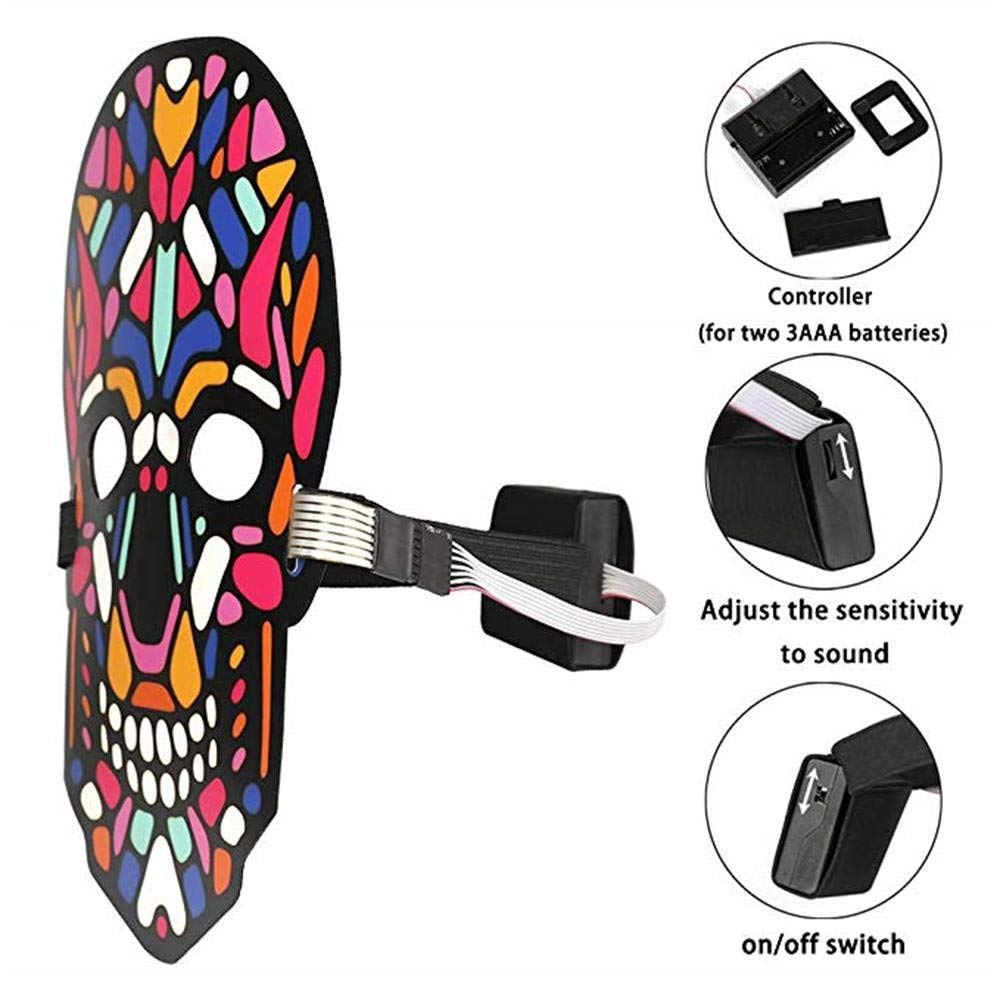 Unpara Halloween LED Mask Party Version Sound Reactive Dance Rave Light Up Adjustable Mask (E) by Unpara_mask (Image #4)