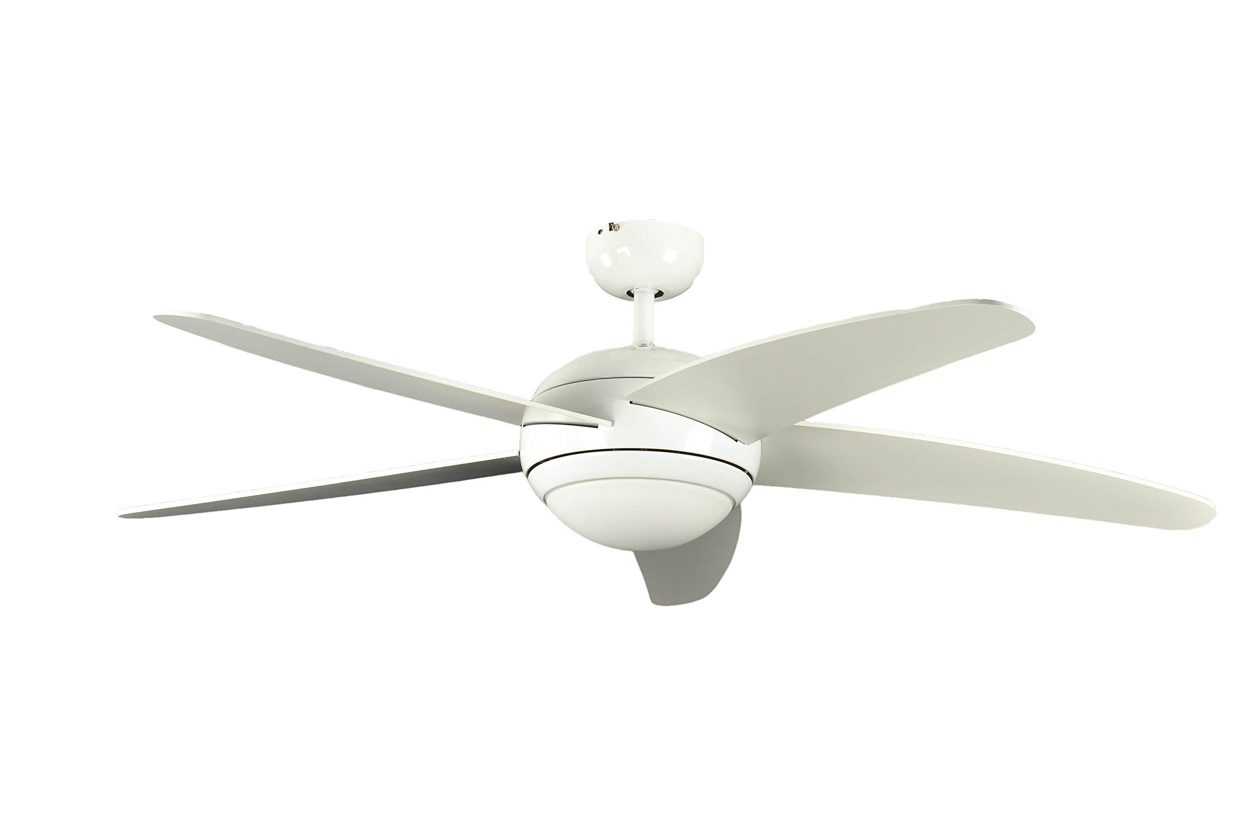 Ventilateur de plafond Réversible Melton Blanc 132 cm avec Eclairage et Télécommande, Pâles Blanc product image