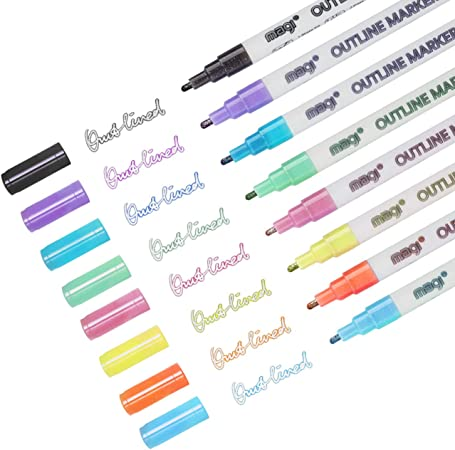 Details about  /Double Line Pen Card Writing Drawing Outline Pen Highlighter Marker Pen