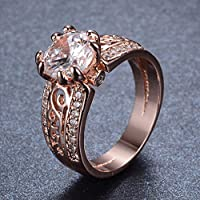 Pikul giftshop Round White Sapphire CZ Wedding Ring 10KT Rose Gold Filled Jewelry Size5/6/7/8/9 (6)