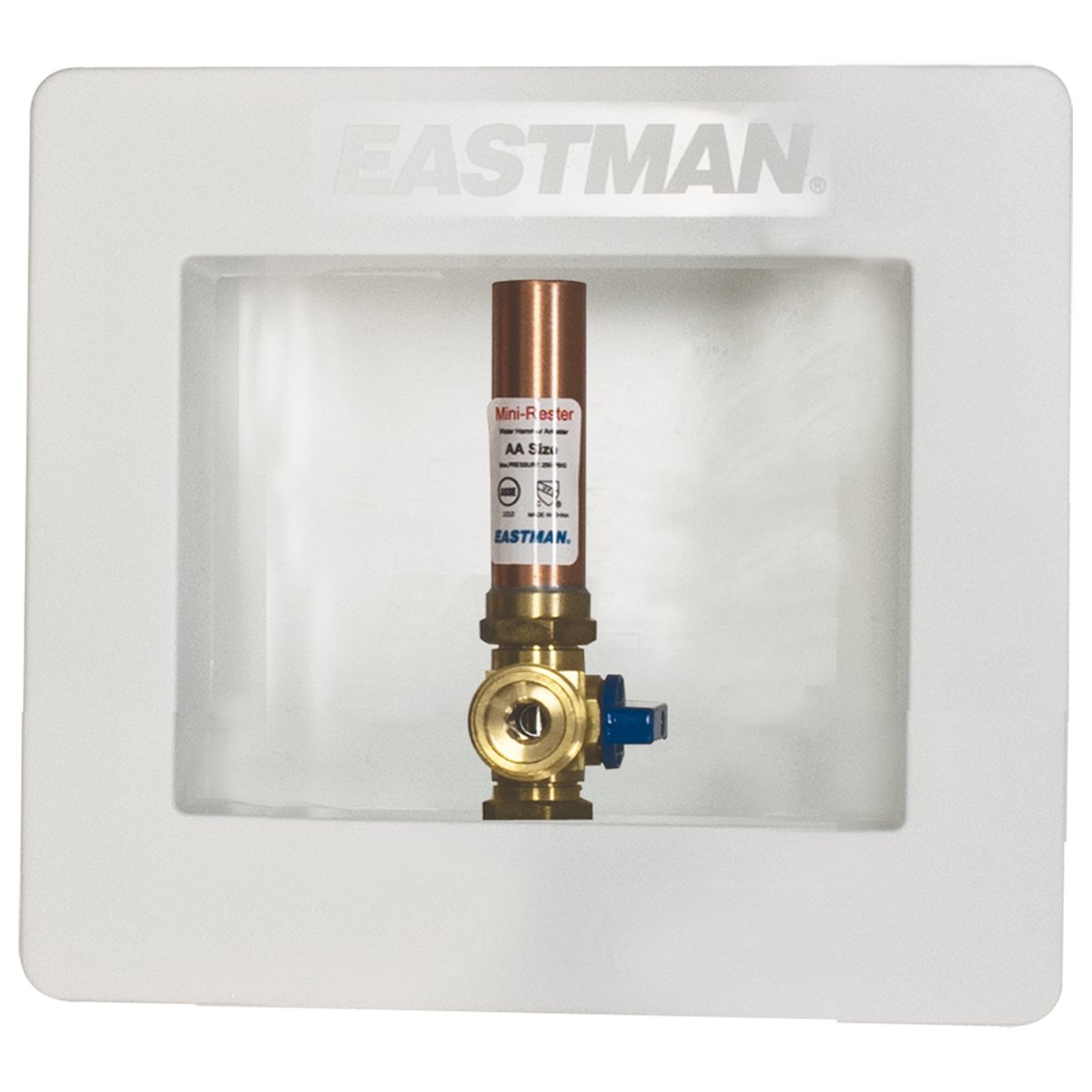 Eastman 60258 Pre-assembled Ice Maker Outlet Box, 1/2-Inch Expansion PEX Connection with Installed 1/4-Turn Ball Valve and Hammer Arrester, White