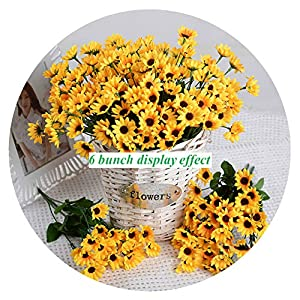 Artfen Artificial Sunflower 2 Bouquet Artificial Flowers Fake Sunflowers Floral Decor Bouquet Home Hotel Office Wedding Party Garden Craft Art Decor 13 inch 17