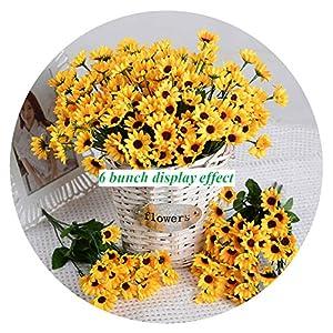 Artfen Artificial Sunflower 2 Bouquet Artificial Flowers Fake Sunflowers Floral Decor Bouquet Home Hotel Office Wedding Party Garden Craft Art Decor 13 inch 5