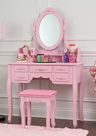 Amazon.com: Fineboard Vanity Set with Stool Makeup Table with 7 ...
