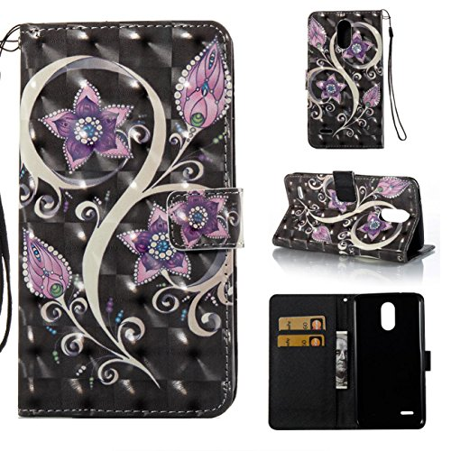 Lg Stylo 3 Case,Kickstand Wallet Cover with Inner Soft Bumper Shock Proof Full Protective Cover with Credit Card Holder Creative Birthday Gift for Lg Stylo 3/Lg Stylus 3/Ls777-Purple