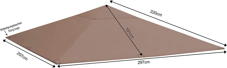 QUICK STAR Techo de repuesto para Gazebo de jardín 3x3m Gris-beige ...