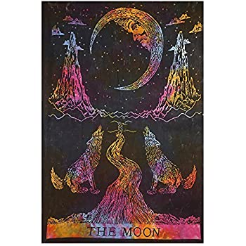 Amazon Com Multi Color Tie Dye Crying Wolf Of The Moon