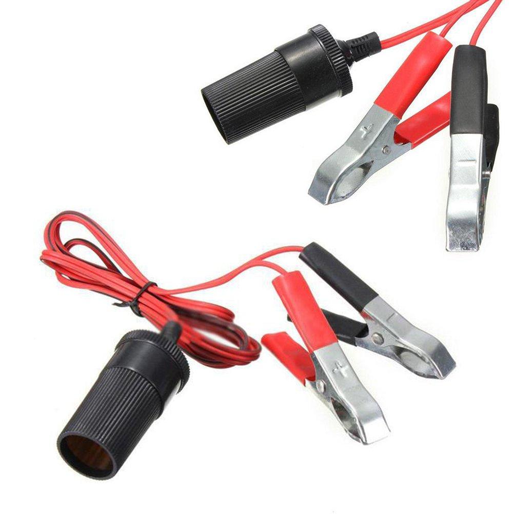 VORCOOL 1,5 m Autobatterie Jumper Kabel Terminal Clamp Clip-on Zigarettenanz/ünder Power Adapter