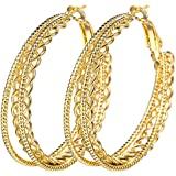Women Chic 18K Yellow Gold Filled Stud Hoop Dangle Earring Wedding Jewelry Gifts BySumanee