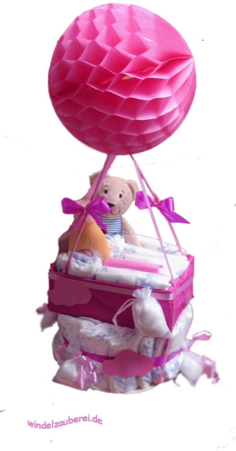 Geschenk zur Geburt /& Taufe Ballonfahrerin Windeltorte