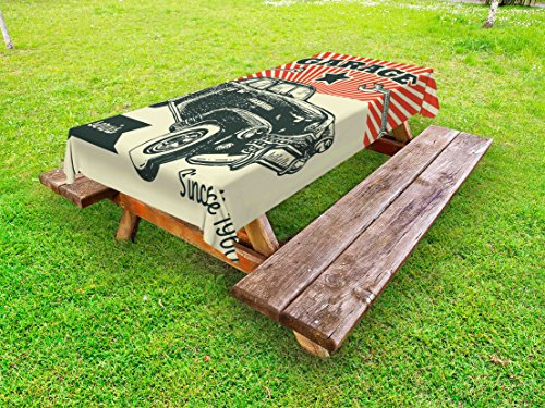 Ambesonne Cars Outdoor Tablecloth, Retro Car and Garage Advertising Poster Style Picture with Grunge Effects 1960s, Decorative Washable Picnic Table Cloth, 58 X 84 Inches, Emerald Orange