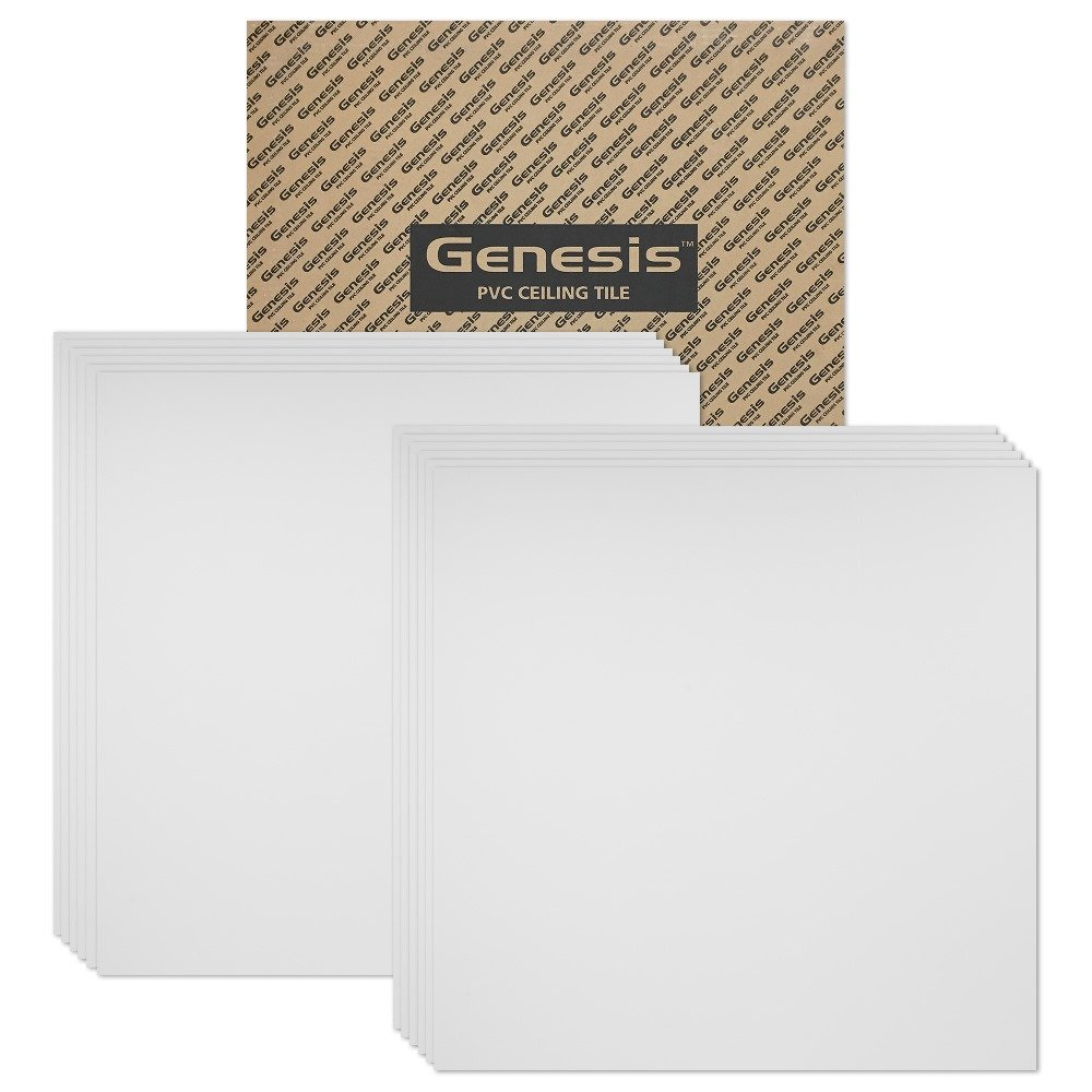 Genesis 2ft x 2ft Smooth Pro White Ceiling Tiles - Easy Drop-in Installation - Waterproof, Washable and Fire-Rated - High-Grade PVC to Prevent Breakage - Package of 12 Tiles by Genesis