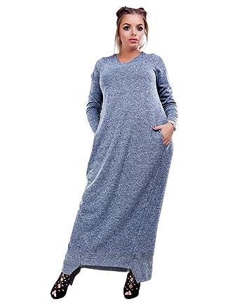 YOUJIA Damen Plus Size Maxikleid Langarmshirts Rundhals irregulär T ...
