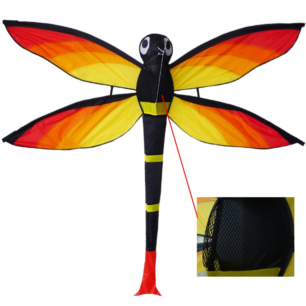 ZHONGRAN Kite for Kids /Huge Dragonfly Kite Easy Flyer and Assemble - Single Line and Long Tail Ribbons - Best Kites for the beach - the Best Gift for Kids and Adults by ZHONGRAN