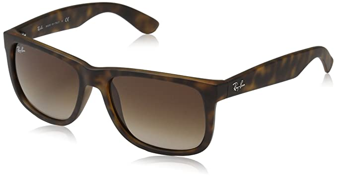 Amazon.com  RAY-BAN Justin Rectangular Sunglasses Black 55 mm  Clothing 4c88093873