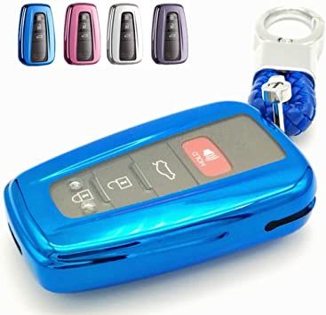 -Blue only for Keyless go Autophone for Toyota Key Fob Cover Premium Soft TPU 360 Degree Protection Key Case Compatible with 2018 2019 2020 Toyota Camry RAV4 Avalon C-HR Prius Corolla Smart Key
